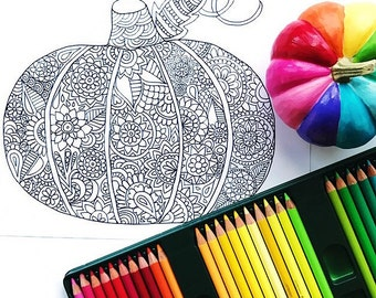 Pumpkin coloring page dowload, Halloween adult coloring page, Fall coloring page, Kids coloring page download, Printable coloring page