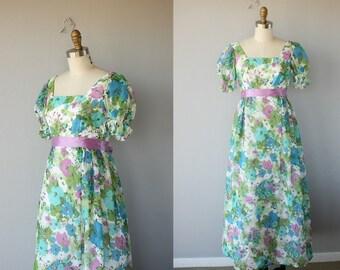 1970s Maxi Dress | 1960s Maxi Dress  | 60s Dress  | Floral Maxi Dress  | 70s Maxi Dress  | 1970s Party Dress | Hostess Dress- (small)