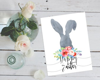 Happy Easter Printable Card Easter Print Bunny Happy Easter Card Watercolor Art Watercolor Easter Bunny Print Printable Art Watercolour Card