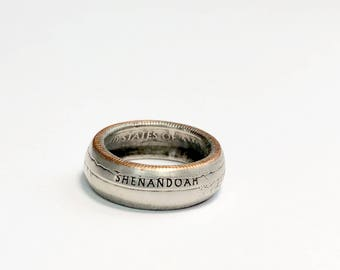 Shenandoah - National Park - Virginia - Money - Coin Ring - Coin Jewelry - Quarter Ring - Gift - State - Wedding Ring - Husband - Wife