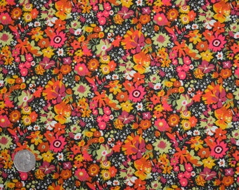 Liberty of London 467319 Tana Lawn 100% Cotton Fabric Manuela Autumn Orange/ Pink Floral