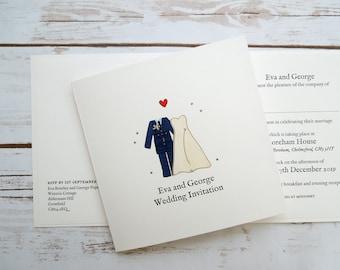 RAF (Royal Air Force) Bride and Groom Wedding/Evening Invitations