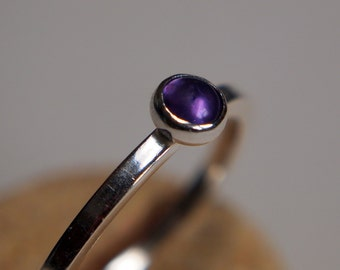 Amethyst Sterling Silver Stacking Ring, Petite Purple Gemstone Ring, Dainty Everyday Ring