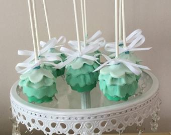Green Ruffle Cake Pops | Green Mermaid Tale Cake Pops