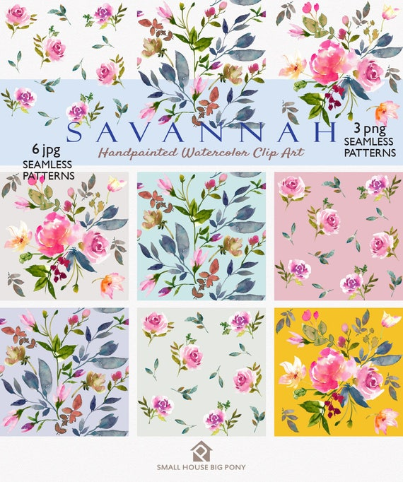 Watercolour Flower Clip Art Collection - Hand Painted Graphics- Savannah Seamless Floral Patterns
