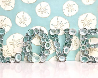 "Beach Decor - ""LOVE"" Letters with Natural Blue Green Limpet Shells - shell letters seashell letters sea shell letters"