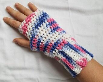 Handmade Fingerless Gloves, Crochet Fingerless Gloves, Crochet Gloves, Fingerless Gloves, Women's Gloves, Pink and Blue Fingerless Gloves
