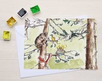 Funny Birthday Card - Greeting Card - Birthday Party Invitation - Cake in a Tree A6