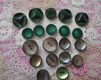 Vintage early 1990's green circles of different shades of Pearl and several diameters (by 20 buttons) Acrylic buttons.