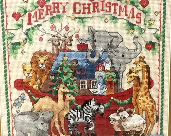 Vintage Christmas Cross Stitch Embroidery Sampler, Noah's Ark Theme, Wood Frame with Glass, Matting