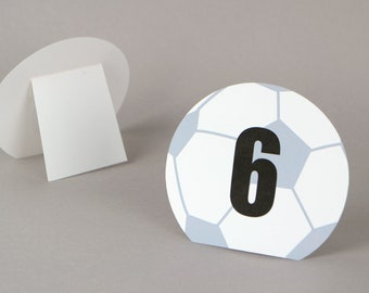 Soccer Table numbers  |  Sports team banquet | Soccer  wedding | Soccer bar / bat mitzvah | sports party decor