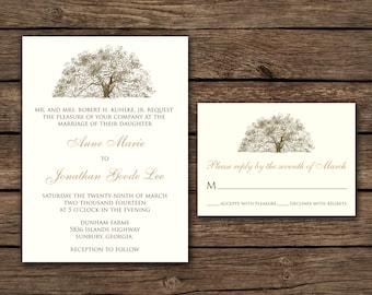 Rustic Oak Tree Wedding Invitations - Natural Ivory Paper with Brown Kraft Envelopes