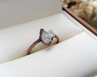 Tiny Geode and Copper Electroformed Ring | Size 6 1/2
