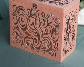 Rose Gold Wedding Card Box with Slot and Lock, Wedding Money Box, Wedding Card Holder with Lock, Money Box Lock, Wedding Gift Card Basket