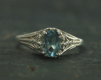 Aurora--Sky Blue Topaz Ring--Sterling Silver Engagement Ring--Vintage Design Ring--Antique Style Ring--Victorian Style Filigree Ring