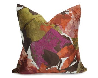 Floral Throw Pillow, Designer Floral Pillow, 18x18, 20x20 Pillow, Purple Green, Copper, Pillow Cover, Contemporary, Large Flowers Cushion