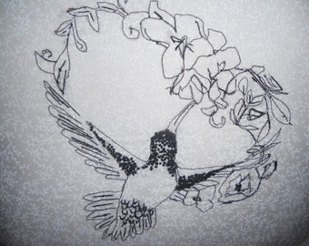 Minimalist Black and White Hummingbird Pillow--HAND SKETCHED