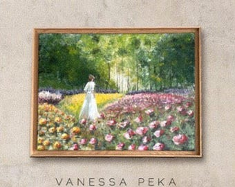 Woman in rose garden - Original Painting - kids room decoration