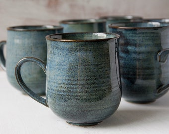 Blue Ceramic Mugs, 10oz Mugs, Set of 4 Mugs or 6 Mugs, Stoneware Mugs, Rustic Pottery, Pottery Dishes, Blue Pottery, New Home Gift