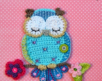 Crochet pattern - owl applique - by VendulkaM crochet, digital pattern DIY, pfd