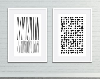 Set of 2, Black and White Vintage Distressed Nature Midcentury Modern Geometric Lines Abstract Art Print Set, Gallery Wall, Instant Download