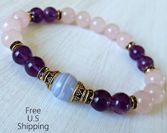 Grade A Amethyst, Blue lace agate, Rose Quartz, healing bracelet, calming, Yoga Bracelet, Reiki bracelet, mala, love bracelet, anxiety
