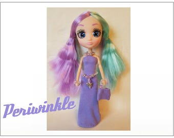 "Shibajuku Mini 6"" Doll Clothes - PERIWINKLE Dress, Purse, Butterfly Belt and Jewelry - Handmade Fashion by dolls4emma"