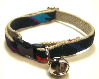 Handmade Hemp Cat Collar -Southwest on Black-