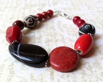 Bracelet chunky red black stones. Take 50% off.