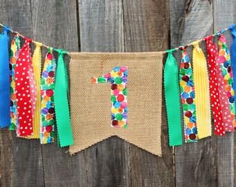 Custom Burlap Banner, Birthday Bunting Banner,  Birthday Photo Prop, Caterpillar Birthday Party