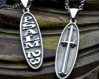 Psalm 23 The Lord Is My Shepherd Two Sided Reversible Christian Necklace Pendant with Cross
