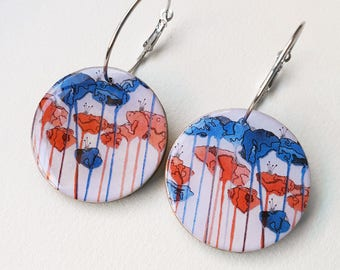 "Large disc earrings – ""Tall Poppy - White"" (wearable art, statement earrings, illustration)"
