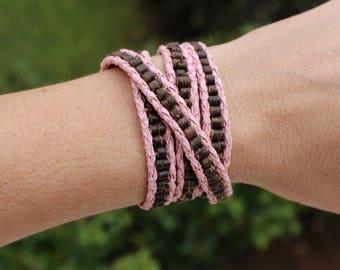 Coconut wrap leather bracelet, Chan Luu style bracelet, 4-wrap coconut bracelet,wrap leather beaded bracelet, braided leather wrap bracelet