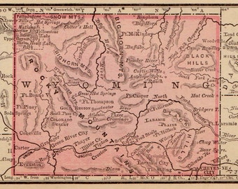 Antique WYOMING Map Vintage Map of Wyoming Antique 1887  MINIATURE Wyoming State Map Gift for Traveler Wedding Birthday  3304
