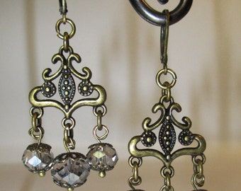 Antique Brass finish Leverback Chandelier Earrings with Smokey Grey Crystal