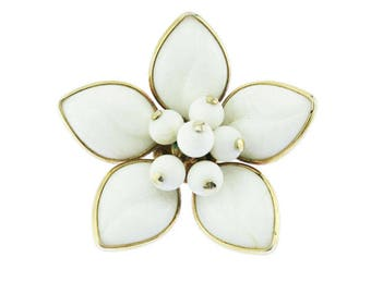 White Flower Brooch, White Glass Flower Brooch, Milk Glass Flower Brooch, White Flower Pin, White and Gold Flower Brooch