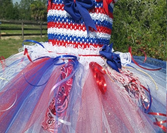 SALE ITEM> Free Shipping>Red white and blue July 4th dress tutu