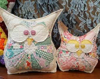 Vintage Quilted Owl Set