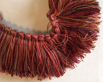 Brush FRINGE in copper brown navy paprika tan 2 inch