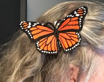 Realistic Embroidered Monarch Butterfly Hair Comb