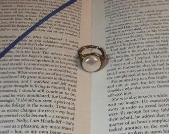 Wire wrapped Cream Swarovski pearl statement ring