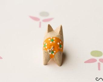 Handmade Colour Wooden Little Pig Orange Shorts Pigs Farm Animal Hand-Carved