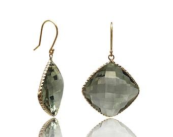 Prasiolite 44 CTTW 14K Yellow Gold Hallmark Dangle Earrings Green Amethyst Gemstone Birthstone Gold Earrings