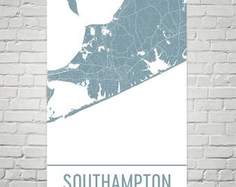 Southampton Map, Southampton Art, Hamptons Print, Southampton New York Poster, Long Island Gifts, Map of Hamptons, New York Poster