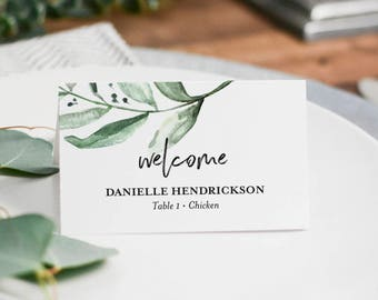 Place Cards Wedding, Place Cards Printable, Place Cards for Wedding, Greenery Wedding, Place Card Template, PDF Instant Download #BPB330_6