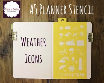 A5 Planner stencil - weather icon - reusable - bullet journal / happy planner / template
