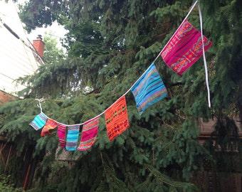 Mexican Fabric Banner,  Squares Bunting, Fiesta Party Decor, Wall Hanging, Nursery Decoration, Wedding Garland,  Cinco de Mayo