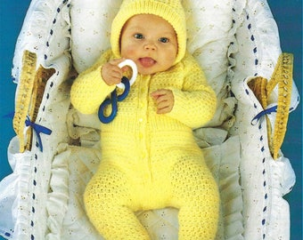 PDF Instant Digital Download baby all in one suit with hidden mittens knitting pattern 16 to 20 inch (508)