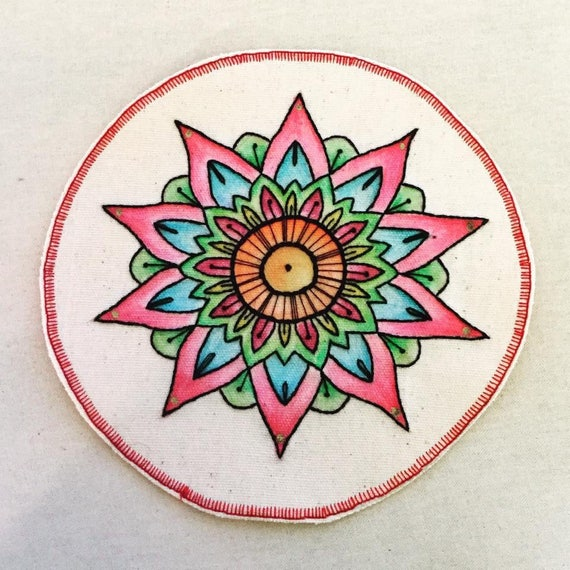 Big Mandala Hand Embroidered Sew-On Patch, Whimsical, colorful, Hand Embroidered