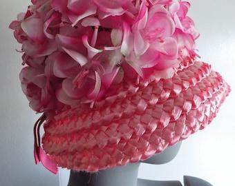 1960s Vintage Hat Pink Straw Raffia Silk Flowers Cloche Bucket Style Original Ladybird Creation.